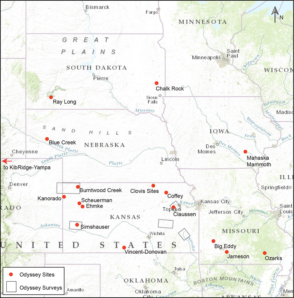 Odyssey Archaeological Research Program sites in the Central Plains.