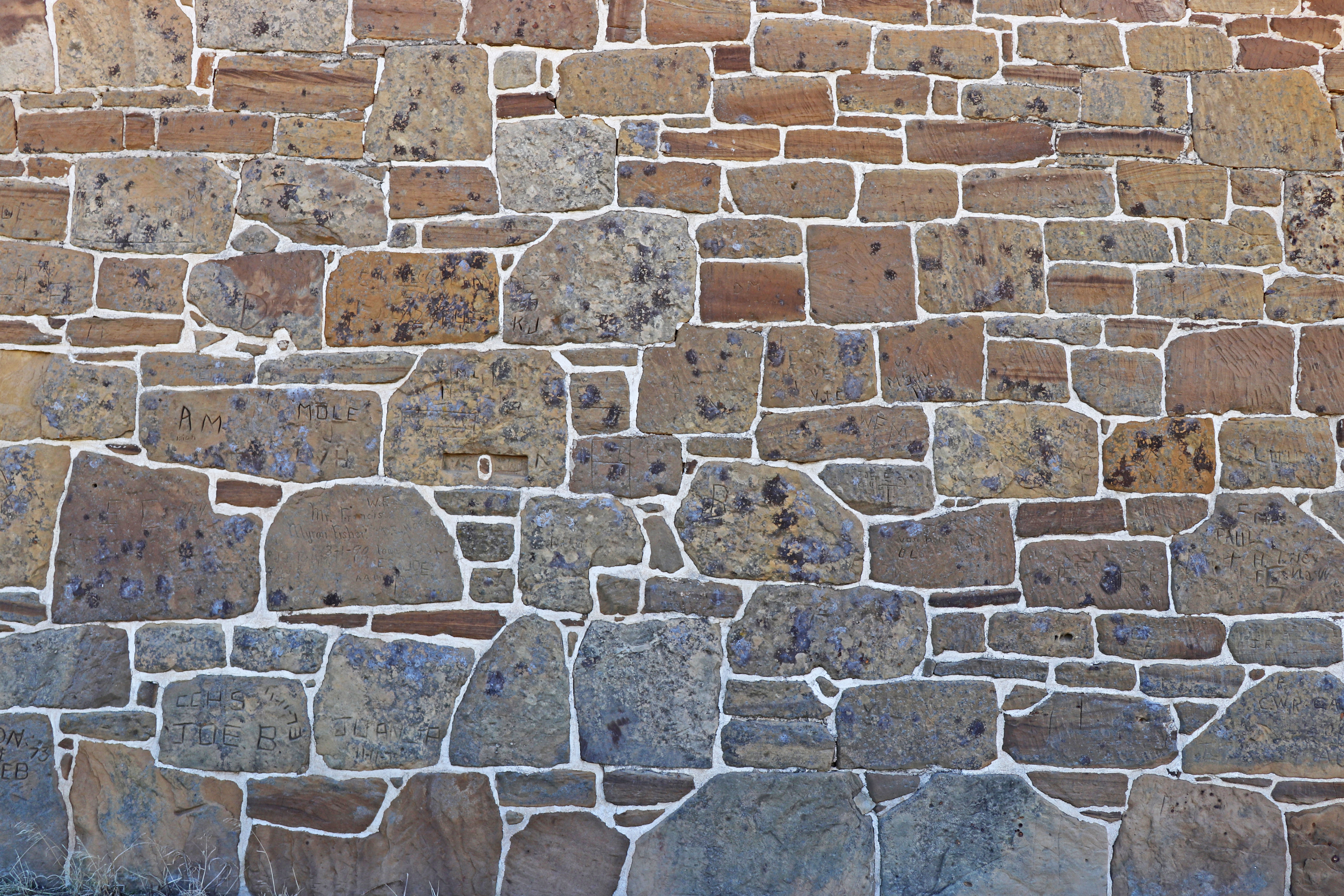 Dakota Sandstone wall of the shop building at Fort Larned National Historic Site.