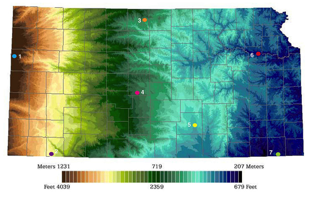 Color elevation map of Kansas | GeoKansas